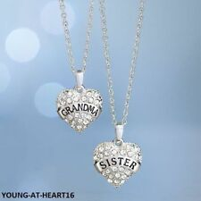 silver plated hollow heart NECKLACE with sparkly stones  GRANDMA or SISTER