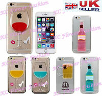 Red Wine Glass Beer Cocktail Moving Liquid 3D Back Case Cover For iPhone&Samsung