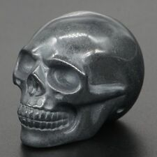 "2"" Natural Hematite Skull Statue Carved Gemstone Figurine Halloween Decor"