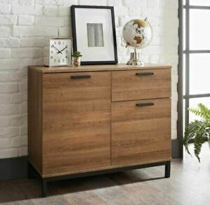 2 Cabinet 1 Drawer Console Table Black Leg & Wooden Drawers and Shelf Furniture