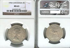 South Rhodesia 1954 2 Shilling Rare Key Date, Superb Gem BU, NGC 63 PQ, 300k Mtg