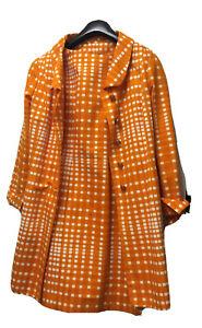 Gill Y Jacques Designer Cotton Orange White Two Piece Dress Jacket Retro 10