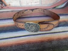 Men's Vintage Tooled Leather Western Hippy Boho Brass Flower Buckle Belts 30-32