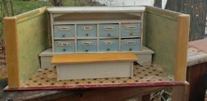 ANTIQUE 30'S GERMAN Dollhouse Room Box General STORE bakery Apothecary Shop