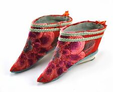7d9a90f4377cf6 Vintage Chinese Foot Bind Bound Feet Lotus Shoes Silk Handmade Hand  embroidery