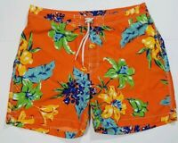 Vintage Polo Ralph Lauren Swim Trunks XL Mens Hawaiian Tiki Hibuscus Orange Mint