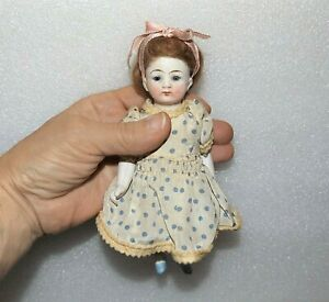 "ANTIQUE GERMANY ALL BISQUE #5112 Jointed Blue Glass Eyes 6 1/2"" MIGNONETTE DOLL"