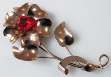 """Vintage STERLING BY JORDAN FLOWER PIN with Red Glass Center .925 Vermeil 3.25"""""""