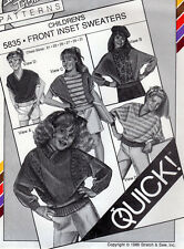 """1986 Stretch & Sew In-Ann-Instant Pattern 5835 """"Children's Front Inset Sweaters"""""""