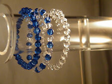 3 Blue and Clear Acrylic Bead Stretch Bracelet New 4mm Beads Gift for Her USA