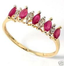 10k.76ct YELLOW GOLD DIAMOND & 5 MARQUISE RUBY RING