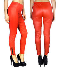 Women Hot Faux Leather Wet Look Bottom Zipper Legging Pants Solid Color