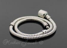 20cm 18ct 18k White Gold GP Snake Charm European Bead Unisex Bracelet