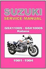 SUZUKI Workshop Manual Supplement GSX1100S GS1000S Katana 1981 1982 1983 & 1984