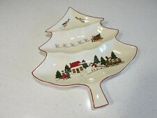 MASONS CHRISTMAS VILLAGE 3 PART LARGE TREE SHAPED DISH