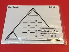 Fact Family - Addition Mats- Laminated Dry Erase Mats