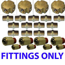 Air suspension valves Fittings only Kit all U need for 8 Brass Valves 3/8""