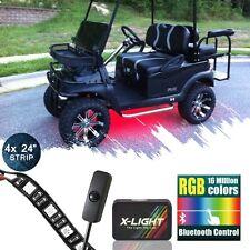 LED Custom Neon Lighting UnderGlow Strip Kit for Golf Cart w Switch Music Active