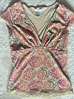Old Navy blouse shirt top size Small S tan orange green flutter short sleeves