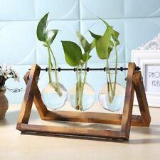 Glass Wood Vase Plant Desktop Hydroponics Planter Table Bonsai Terrarium Pot