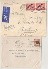 2 COVERS  SOUTH AFRICA CAPETOWN TO JOHANNESBOURG and FRANCE. L466