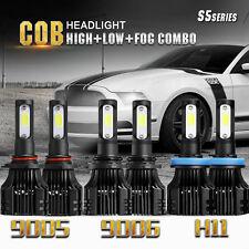 6x COB 420W LED Headlights Combo 9005 9006 H11 High + Low Beam + Fog Light Bulbs