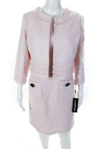 Karl Lagerfeld Womens Tweed Solid Button Down Sheath Dress Suit Pink Size 8/M