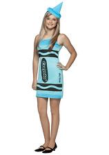 Crayola Sky Blue Tank Dress Halloween Costume Crayon Size 13-16 Rasta Imposta