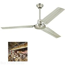 Commercial 56-Inch Three-Blade Ceiling Fan Brushed Nickel W Ball Hanger Install