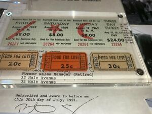 WOODSTOCK 1969 3 DAY TICKETS and ✅ FOOD FOR LOVE CONCESSION COUPONS Jimi Hendrix