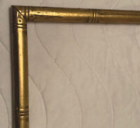 VINTAGE bamboo gold MCM HOLLYWOOD REGENCY wood PICTURE FRAME Fits 19.5 X 15.5