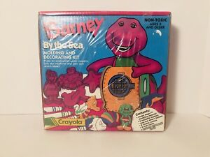 Vintage Barney By The Sea Decorating Kit Cookie Cutters Crayola New Old Stock