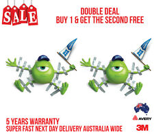 2 x 3D MIKE MONSTER INK TAPED TO CAR FUNNY CAR, TRUCK WALL OR DOOR STICKER DECAL