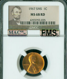 1967 LINCOLN CENT NGC MS68 SMS RED FMS PQ FULL MEMORIAL STEPS MAC SPOTLESS .