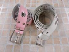 "WOMENS VINTAGE STUDDED LEATHER BLEND BELT WHITE/PINK SIZE 32"" GRADE B AR538"
