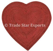 "Indian Braided Floor Rug Jute Heart Shaped Rug 28"" Reversible Handmade Floor Mat"