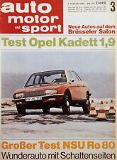Poster Auto Motor und Sport 3/68 3.2.68 1968 Replica NSU Ro 80 Motor Klassik
