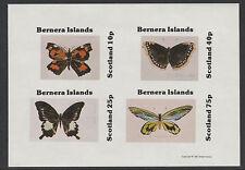 GB Locals - Bernera 4656 - 1981 papillons imperf Feuillet de 4 Non montés