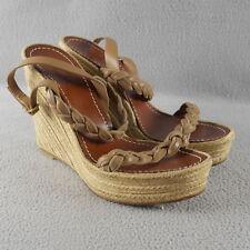 Valentino Garavani Braided Brown Leather Espadrille Wedge Sandals EU 40 $695 ANB