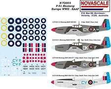 RAAF P-51 Mustang Decals Europe WWII 1/72 Scale N72003