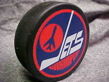NHL Vintage 1980 Winnipeg Jets Logo In GlasCo Official Souvenir Hockey Puck