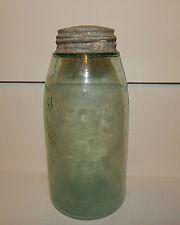 VTG. MALTESE CROSS GREEN PATENT NOV 30, 1858 FRUIT CANNING JAR 7 CUPS ZINC LID