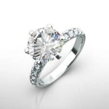 Ct Diamond Round Ring Real Certified Colorless Side Stones 18K White Gold 2.5