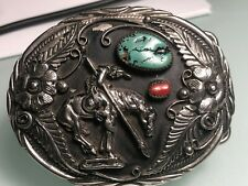 VINTAGE NATIVE AMERICAN INDIAN HANDCRAFTED TURQUOISE CORAL CHIPS BELT BUCKLE