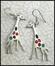 VINTAGE .925 Sterling Silver, Decorative Giraffe Earrings, French Wires - Mexico