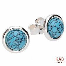 TURQUOISE  STERLING SILVER 925 JEWELLERY EARRINGS-9 mm, KAB-189 e T
