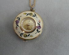 HAND PAINTED  BEAUTIFUL FLOWERS PENDANT WATCH INVENTIC SWISS MADE