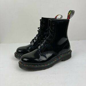 Dr. Martens Ladies Black Patent leather US 6 DOC's 8 Eyelet Rainbow 1460 Boots