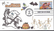 GHOST IN CHAINS  HALLOWEEN  CATS BAT  SPIDER  WITCH  SKELETONS  PUMPKINS FDC-DWc