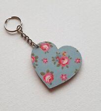 Handmade Wooden Heart Keyring Keychain Cath Kidston 'Hampton Rose' Print